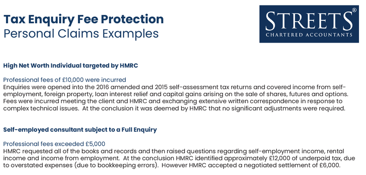 Tax Enquiry Fee Protection Claims Examples - Personal