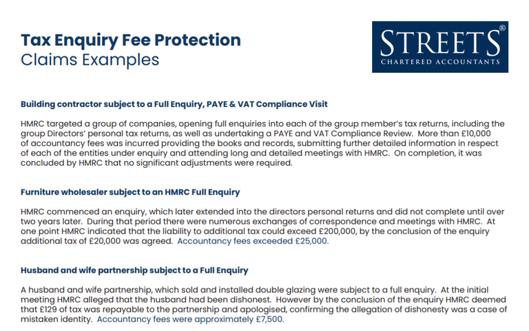 Tax Enquiry Fee Protection Business Claims examples