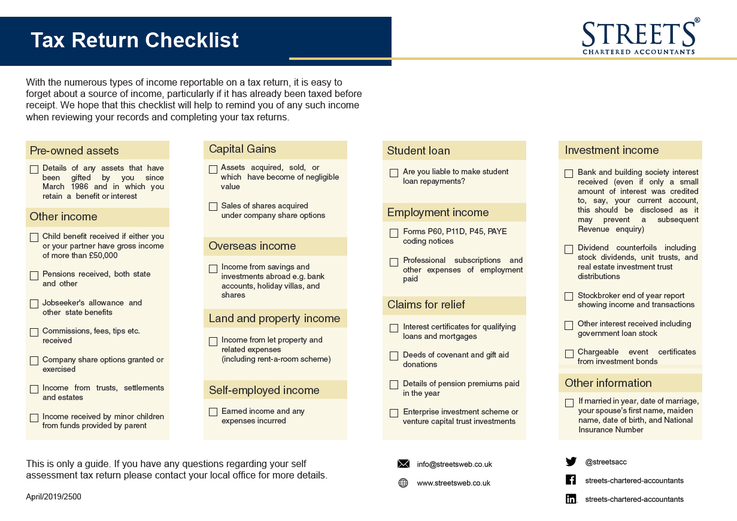 Tax Return Checklist 2019