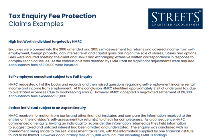Tax Enquiry Fee Protection Personal Claims examples