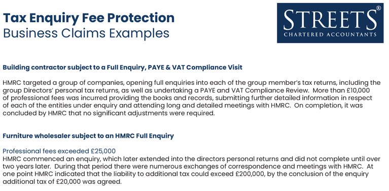Tax Enquiry Fee Protection Claims Examples - Business